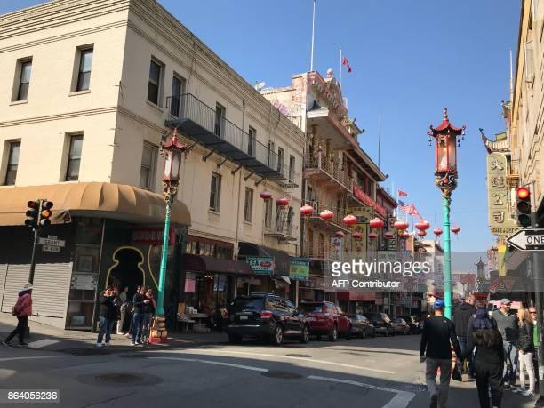Partial vue of Grant Street in San Francisco Chinatown taken on October 18 2017 / AFP PHOTO / Daniel SLIM