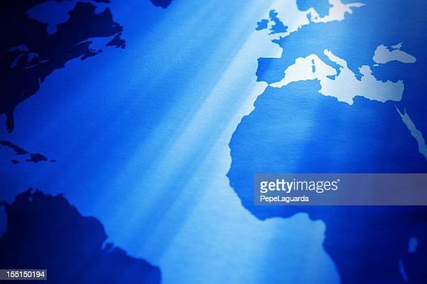 Mapa mundial vista parcial: Océano Atlántico