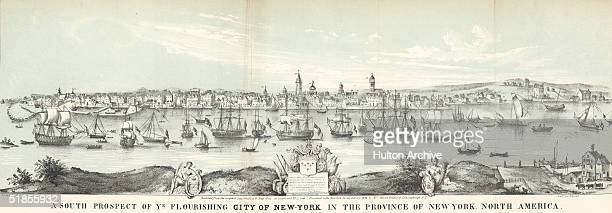 Partially colored engraving from 1853 shows the southern end of Manhattan Island from across the East River as a thriving port city and commercial...