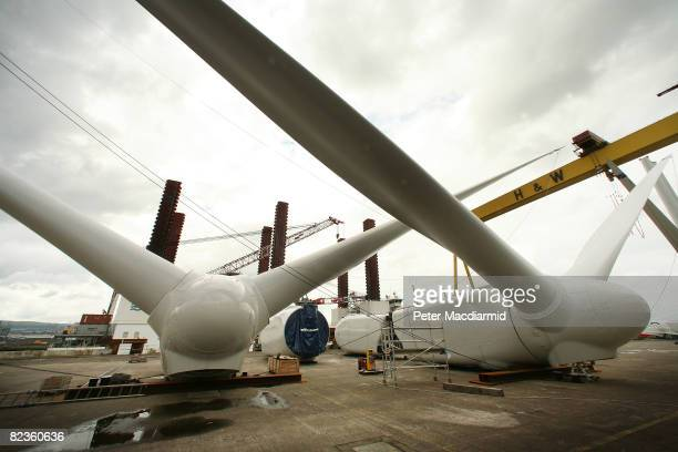 Partially constructed wind turbine blades are stored at the Harland Wolff shipyard on August 14 2008 in Belfast Northern Ireland 60 wind turbines are...