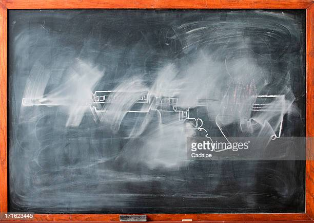 Partially erased chalk drawing of gun on blackboard