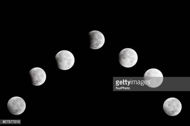 Partially Lunar Eclipse seen from Serpong South TangerangBantenIndonesia on 8 August 2017 Onl Partial Eclipse only 25 per cent of the moon's surface...