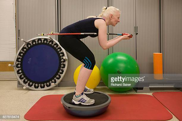 Partially-sighted skiing paralympian from the Sochi Olympics, Kelly Gallagher physio training at the Sports Centre in the University of Ulster,...