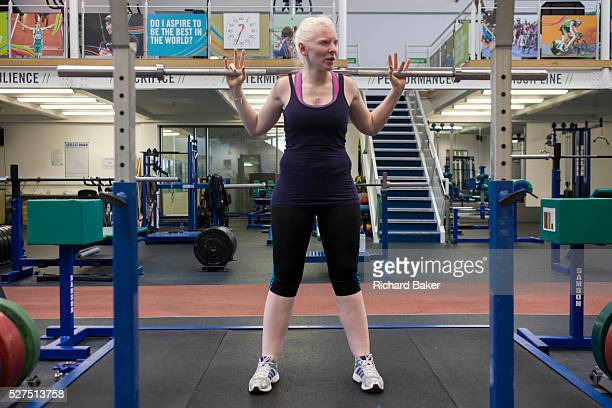 Partially-sighted skiing paralympian from the Sochi Olympics, Kelly Gallagher trains in the gym at the Sports Institute, University of Ulster,...