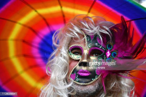 TOPSHOT A participant attends the annual Gay and Lesbian Mardi Gras parade in Sydney on March 2 2019 Thousands of revellers took part in the iconic...