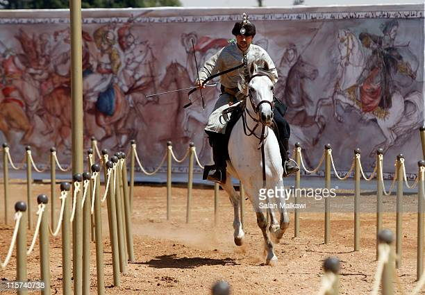 Participant attends the opening of the first Jordanian International Horseback Archery competition also known as the Al Faris competition and...