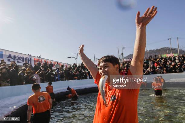A participant bites a trout he caught with his bare hands during a trout catching contest at a pool in Hwacheon South Korea The contest is part of an...