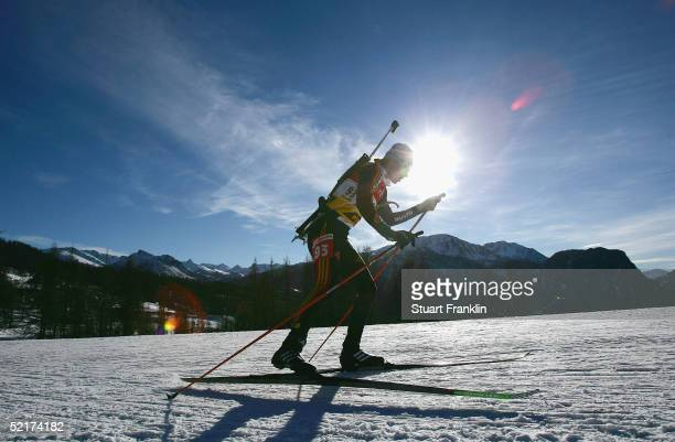 A participant competes during the Women's 15 Km individual race at The EOn Ruhrgas IBU Biathlon World Cup on Feburary 10 2005 in Cesana San Sicario...