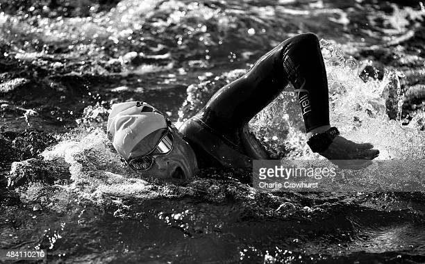 A participant competes in the swim leg of the race during Ironman Kalmar on August 15 2015 in Kalmar Sweden