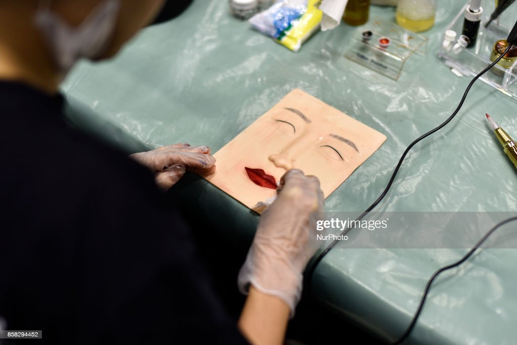 Participant Desy Kasim(Indonesia) in action during the Malaysia International Embroidery Competition, called Beautyface Embroidery on October 6, 2017 at Kuala Lumpur Convention Centre, Malaysia.
