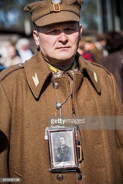 Participant dressed as 40s polish soldier during the march in Warsaw in memory of the more than 20000 polish people killed in Katyn forest during the...