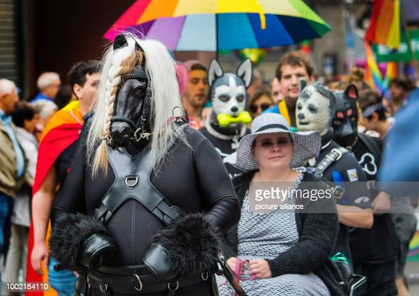 A participant dressed as horse pulls a wagon in Frankfurt am Main Germany 15 July 2017 Thousands of lesbians and gays take the streets at the 25th...