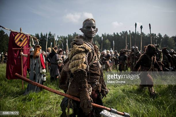Participant dressed as orc, character from 'The Hobbit' book by J. R. R. Tolkien, prepares for the reenactment of the 'Battle of Five Armies' in a...