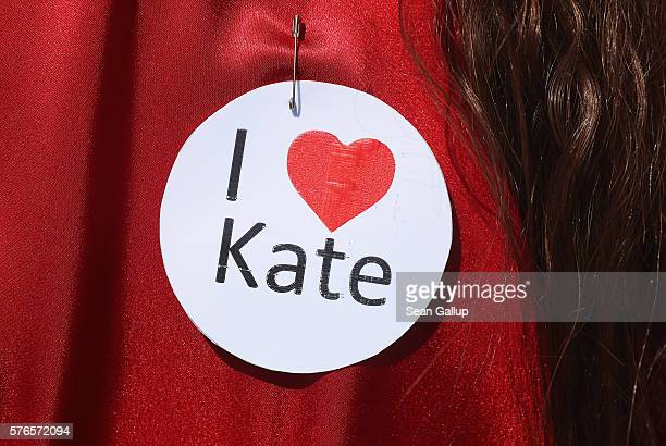 """Participant dressed as singer Kate Bush from her 1978 video to her song """"Wuthering Heights"""" wears an """"I love Kate"""" pin prior to attempting to create..."""