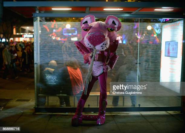 A participant dressed as The Pink Panther at West Hollywood Halloween Carnaval on October 31 2017 in West Hollywood California