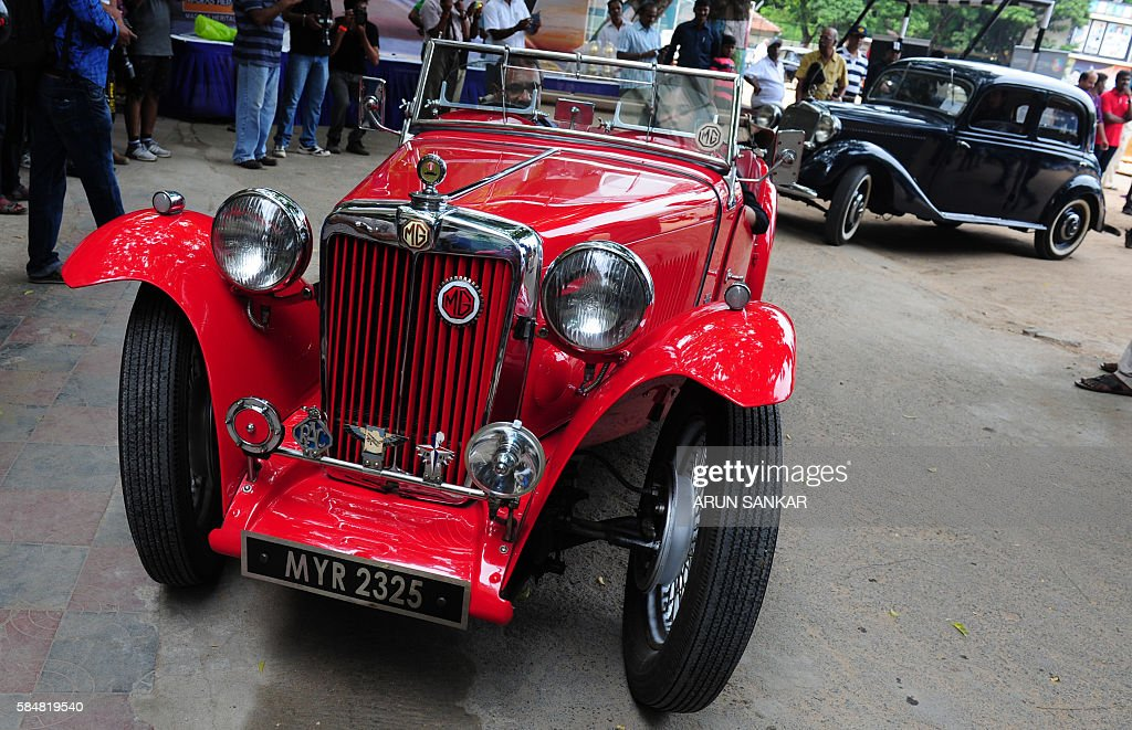 A participant drives out a 1947, MG TC powered with 1500 cc