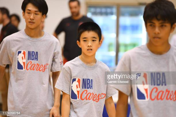 A participant during the NBA Cares Special Olympics Unified Clinic part of the 2019 NBA Japan Games at a training facility on October 7 2019 in Tokyo...