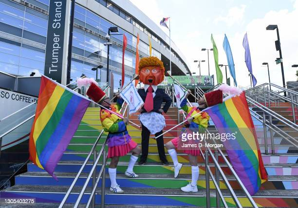 Participant for the weekend's parade dressed as Donald Trump during a press conference ahead of the Sydney Gay and Lesbian Mardi Gras Parade at SCG...