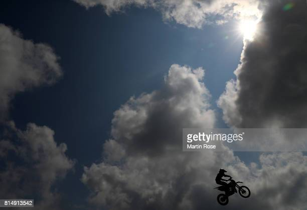 A participant in action during the International German Motocross Championships on July 15 2017 in Tensfeld Germany