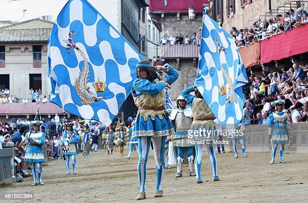 Participant in costume during Corteo Storico pageant before Palio Di Siena horse race at Siena's Piazza del Campo Square on July 2 2015 in Siena Italy