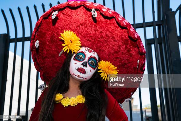 Participant in Dia de los Muertos celebration in Los Angeles California on November 3 2018 Day of the Dead has its origin in Mexico and is widely...