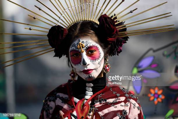 Participant in Dia de los Muertos celebration in Los Angeles California on November 4 2018 Day of the Dead has its origin in Mexico and is widely...