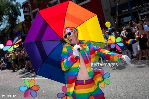 Participant in LA Pride Parade in West Hollywood, California on June 10, 2018. The annual LGBTQ celebration drew an estimated crowd of 150,000 people.