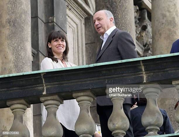 Participant in the 2016 Bilderberg conference Laurent Fabius sighted on the balcony of the Dresden Opera House or 'Semperoper' during a group tour on...