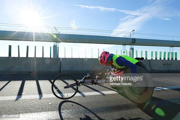 A participant in the Wheelchair divison crosses the VerrazanoNarrows Bridge at the start of the 2016 TCS New York City Marathon on November 6 2016 in...