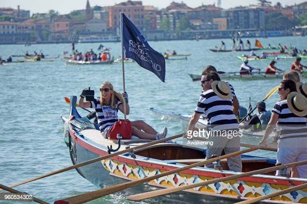 The participants in the Vogalonga form a traffic jam on May 20 2018 in Venice Italy The 32 km cuorse goes around the lagoon and arrives in the Grand...