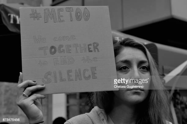 A participant is seen at the #MeToo Survivors March Rally on November 12 2017 in Hollywood California