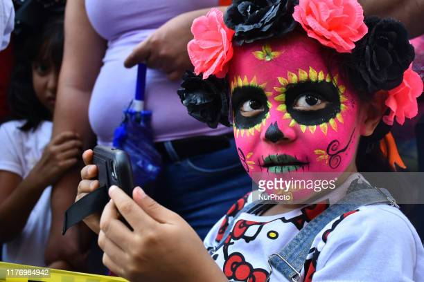 A participant is seen taking part during the march of annual Zombie Walk at Monumento of Revolucion on October 19 2019 in Mexico City Mexico