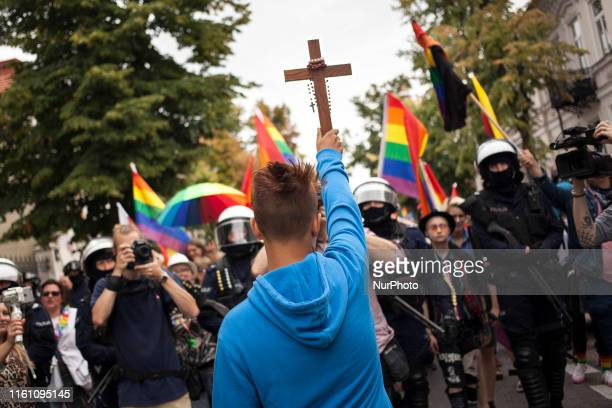 Participant of counter demo tries to block Equality Parade in Plock Poland on 10 August 2019