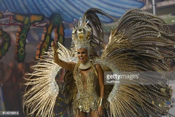 Participant of Samba School Boa Vista takes part at Carnival in Vitoria City State Espirito Santo Brazil on 4 February 2018
