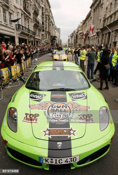 A participant of the car rally Gumball 3000 waits to take the start at Pall Mall in London