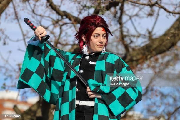 Participant of the Cosplay show seen during the Japan Fest 2019 in Montevideo. Every year, the Japanese Embassy in Uruguay organizes the Japan...