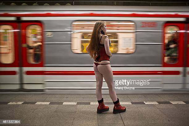 Participant of the No Pants Subway Ride waits for a train on January 11, 2015 in Prague, Czech Republic. The annual event, in which participants...