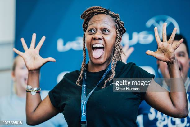 A participant performs a haka dance on stage during the Laureus Sport for Good Global Summit in partnership with Allianz at INSEP on October 18 2018...