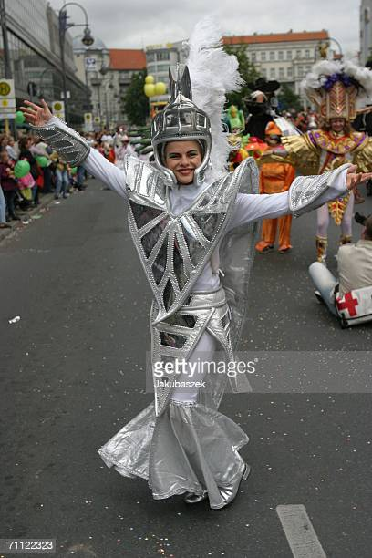 A participant performs in costume at the street festival 'Carnival of Cultures' on June 04 2006 in Berlin Germany More than 4300 people from over 80...