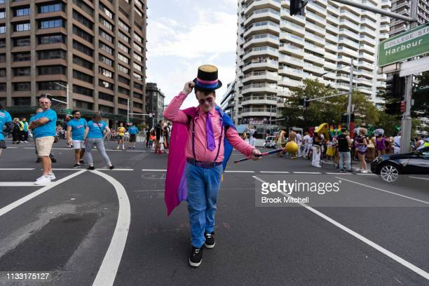 A participant posed on Oxford Street during the 2019 Sydney Gay Lesbian Mardi Gras Parade on March 02 2019 in Sydney Australia The Sydney Mardi Gras...