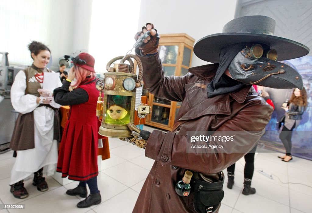 A participant poses for a photograph as he dressed in ste&unk cosplay costumes during the u0027 & KyivSteamCon Festival in Kiev Pictures | Getty Images