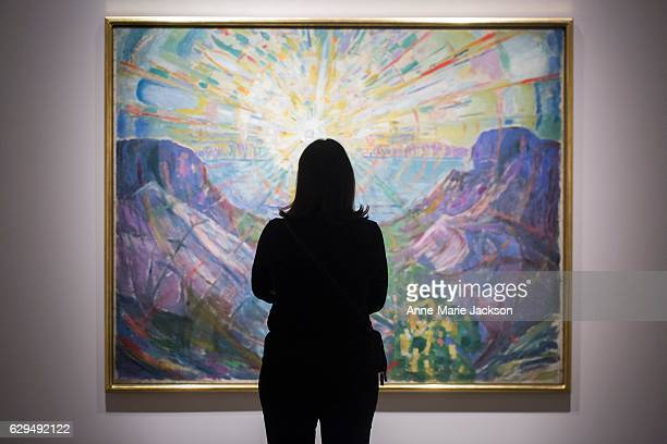 A participant practices mindfulness during the Buddhist meditation session in the Mystical Landscapes exhibition at the Art Gallery of Ontario
