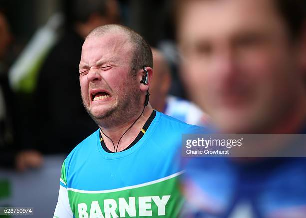 A participant pushes through the pain as they hit the wall at mile nineteen during the 2016 Virgin Money London Marathon on April 24 2016 in London...