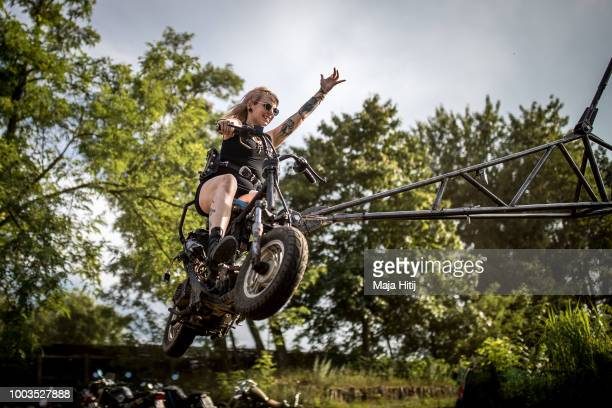 Participant rides a carousel at the women'sonly Petrolettes motorcycle festival on July 21 2018 in Milmersdorf near Berlin in Germany Around 300 bike...