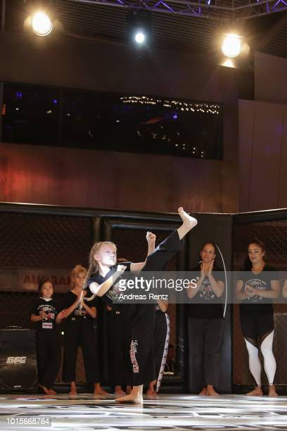 Participant Samira Kindermann takes part in the Kick Chick challenge during the Martial Arts SuperShow Europe on August 12 2018 in Dortmund Germany