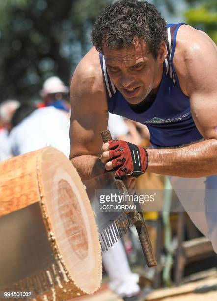 A participant saws a tree trunk with a 'tronza' a traditional Basque saw during a rural Basque sports championship on the third day of the San Fermin...