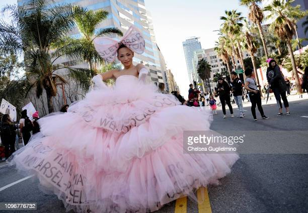 A participant seen at the 2019 Women's March Los Angeles on January 19 2019 in Los Angeles California