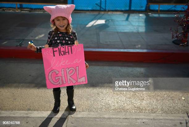 A participant seen during the Women's March Los Angeles 2018 on January 20 2018 in Los Angeles California