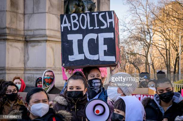 Participant seen holding a box with abolish ICE written on it at the protest. Pro-Immigration Activists joined undocumented immigrants and community...
