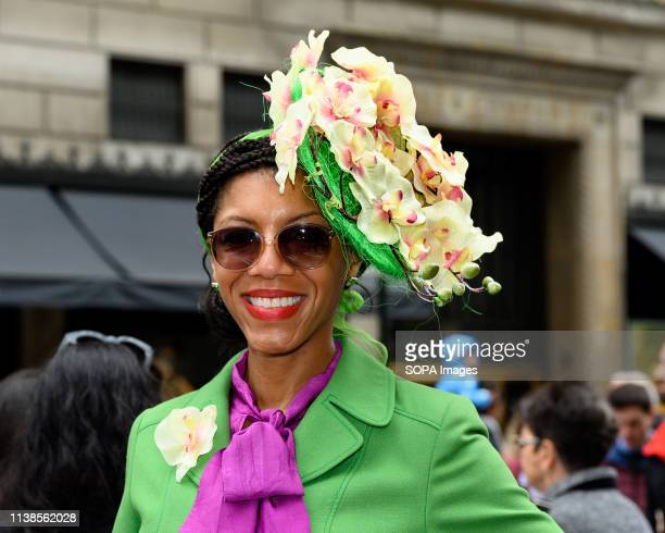 Participant seen in a fancy costume during the Easter Bonnet parade on Fifth Avenue in midtown Manhattan in New York City.